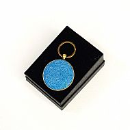 Harris tweed keyring round bright blue
