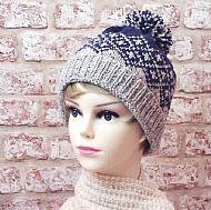 Fairisle bobble hat blue grey