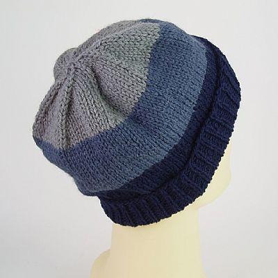 blue grey stripe wool beanie back view