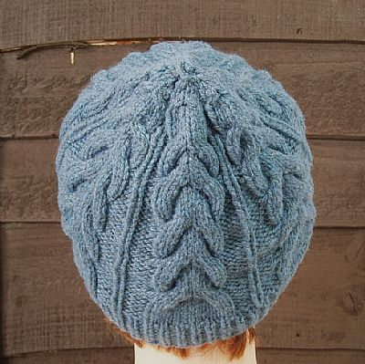 back of blue cable beanie from roses workshop