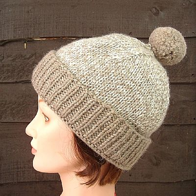 light brown bobble hat in blue-faced leicester wool by roses workshop