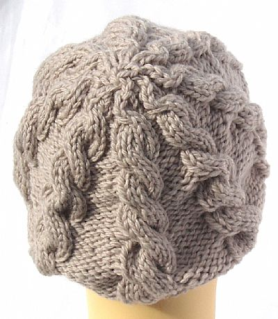 back of cable beanie in pale grey wool