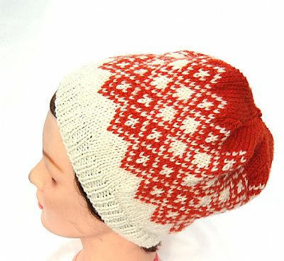 orange and cream fairisle beanie pure wool