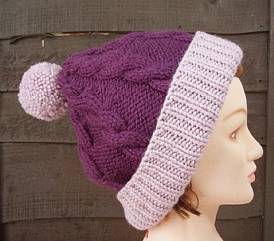purple and lilac chunky bobble hat from roses workshop