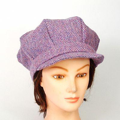 baker boy cap in pink harris tweed by roses workshop