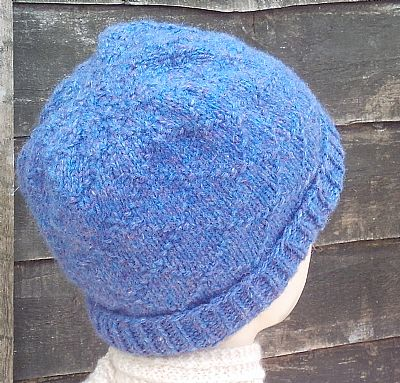 pattern detail of blue british wool hat by roses workshop