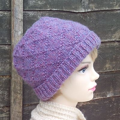 diamond pattern wool hat from roses workshop