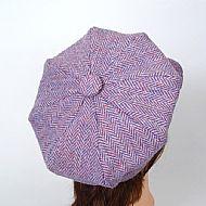 Harris tweed baker boy hat pink lilac herringbone