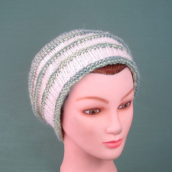 green and white alpaca beret by roses workshop