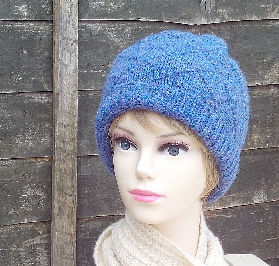 blue diamond pattern british wool hat by roses workshop