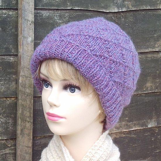 ladies diamond pattern hat in lavender british wool by roses workshop