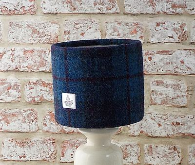 blue and purple harris tweed drum lampshade by roses workshop