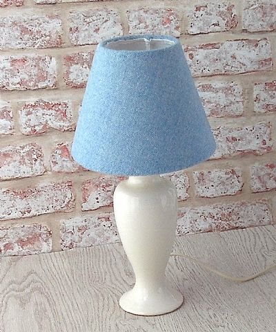 harris tweed small cone lampshade in pale blue by roses workshop