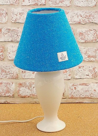 bright blue harris tweed cone lampshade byr roses workshop