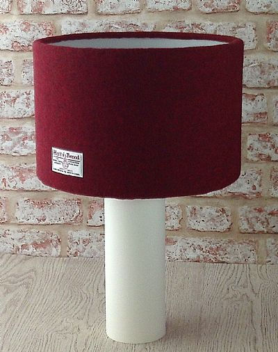 dark red harris tweed lampshade by roses workshop