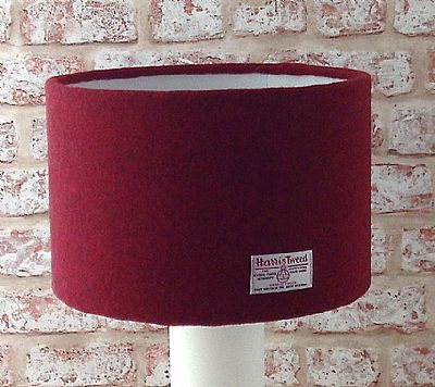 harris tweed large drum lampshade in dark red by roses workshop