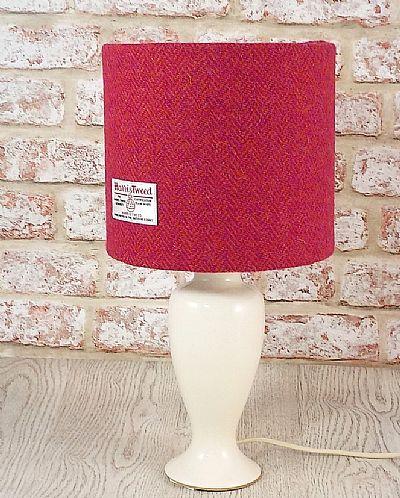 harris tweed drum lampshade in pink and orange herringbone by roses workshop