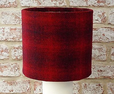 red check harris tweed lampshade by roses workshop