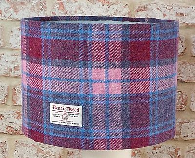large drum lampshade in pink and blue tartan harris tweed by roses workshop