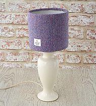 Small drum lampshade pink lilac herringbone
