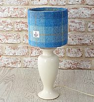 Small drum lampshade bright blue and white