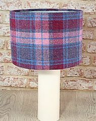 Large drum lampshade pink purple check