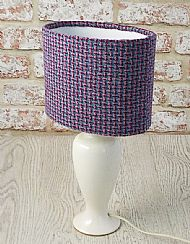 Oval harris tweed lampshade pink and blue
