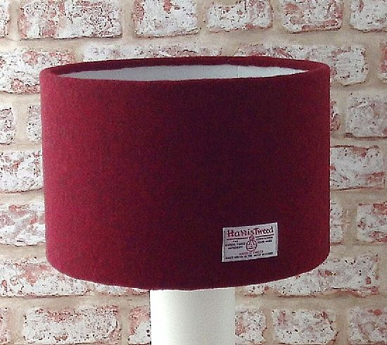harris tweed lampshade in dark red by roses workshop
