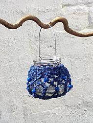 blue tealight holder small