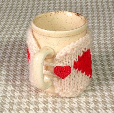 cream heart mug cosy from roses workshop