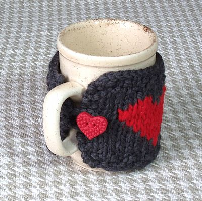 grey mug cosy with heart shaped button