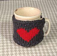 Grey heart mug cosy