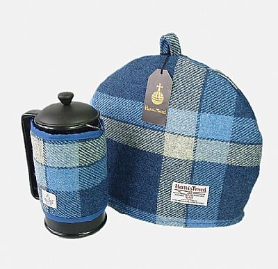 matching tea cosy cafetiere set in blue harris tweed