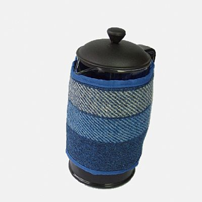 blue and white cafetiere