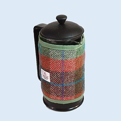harris tweed cafetiere cover brick and turquoise by roses workshop