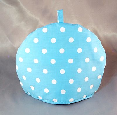 bright blue dotty tea cosy
