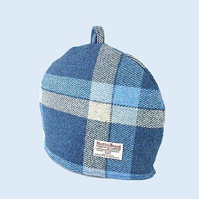 harris tweed tea cosy blue and white