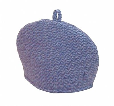 harris tweed tea cosy by roses workshop blue herringbone