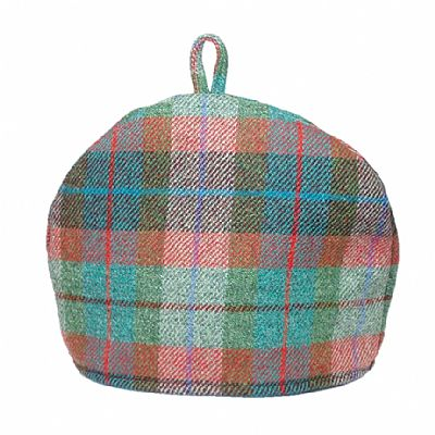 harris tweed tea cosy in brick red and turquoise green by roses workshop