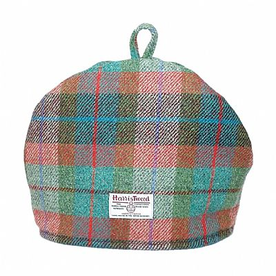 harris tweed tea cosy showing the orb label