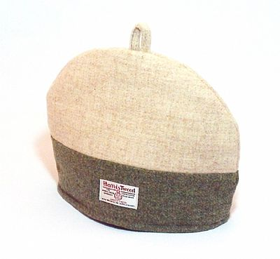 harris tweed tea cosy front