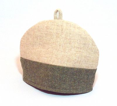 harris tweed tea cosy by roses workshop green and cream reverse side