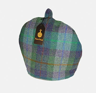 harris tweed tea cosy in green and purple check by roses workshop