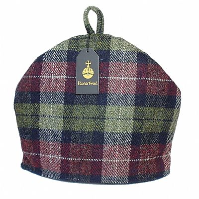 harris tweed tea cosy in wine red and olive green by roses workshop