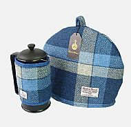 Matching Harris tweed cosy set blue and white