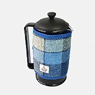 Cafetiere cover in blue and white Harris tweed