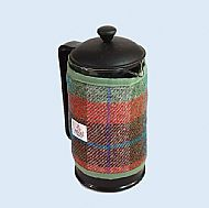 Harris tweed cafetiere cosy brick red turquoise green
