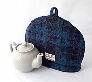 Harris tweed tea cosy blue and purple check