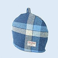 Harris tweed tea cosy - blue and white