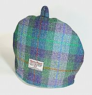 Harris tweed tea cosy green and purple
